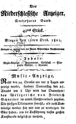 ˜Derœ niederschlesische Anzeiger vom 19.10.1821