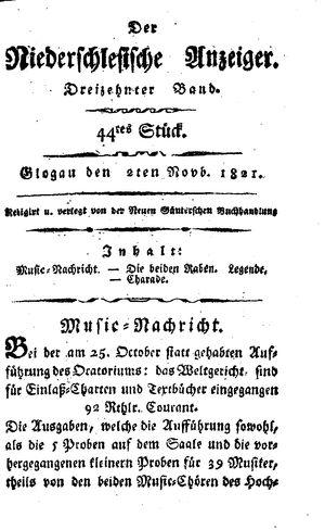 ˜Derœ niederschlesische Anzeiger vom 02.11.1821