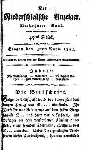 ˜Derœ niederschlesische Anzeiger vom 09.11.1821