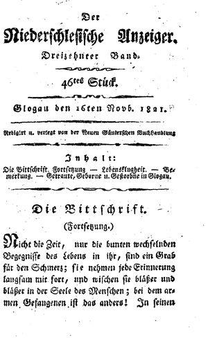 ˜Derœ niederschlesische Anzeiger vom 16.11.1821