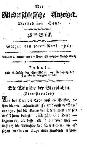 ˜Derœ niederschlesische Anzeiger vom 30.11.1821