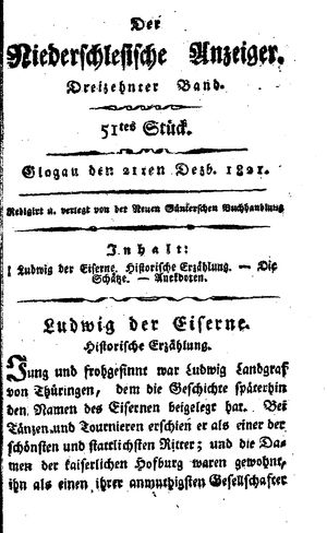 ˜Derœ niederschlesische Anzeiger vom 21.12.1821