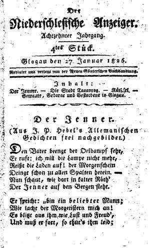 ˜Derœ niederschlesische Anzeiger vom 27.01.1826