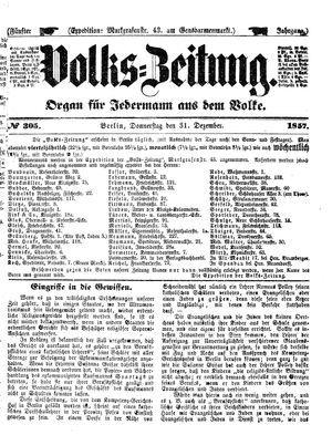 Volks-Zeitung vom 31.12.1857