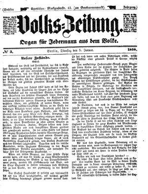 Volks-Zeitung vom 05.01.1858