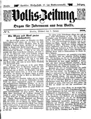 Volks-Zeitung vom 06.01.1858