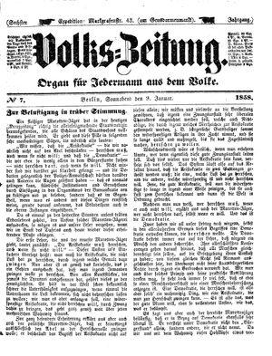 Volks-Zeitung vom 09.01.1858