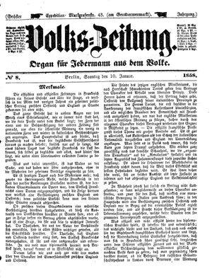 Volks-Zeitung vom 10.01.1858