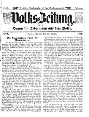 Volks-Zeitung vom 12.01.1858