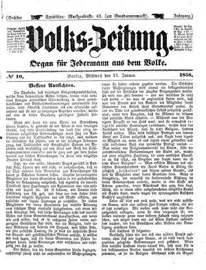 Volks-Zeitung vom 13.01.1858