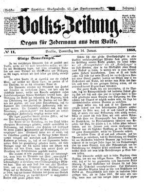 Volks-Zeitung vom 14.01.1858