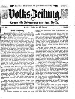 Volks-Zeitung vom 15.01.1858