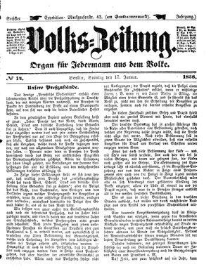 Volks-Zeitung vom 17.01.1858