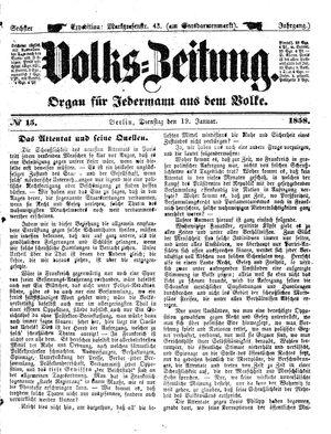 Volks-Zeitung vom 19.01.1858
