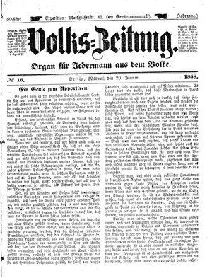 Volks-Zeitung vom 20.01.1858