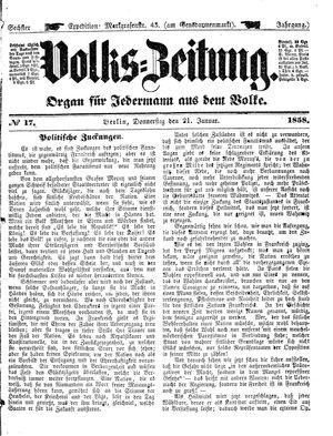 Volks-Zeitung vom 21.01.1858