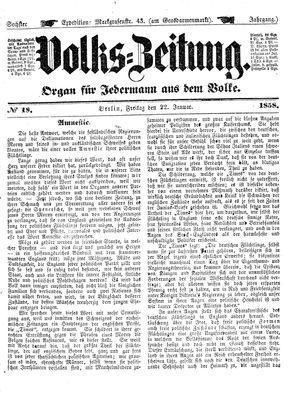 Volks-Zeitung vom 22.01.1858