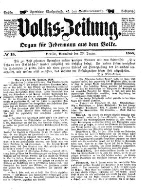 Volks-Zeitung on Jan 23, 1858