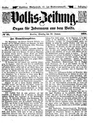 Volks-Zeitung vom 26.01.1858
