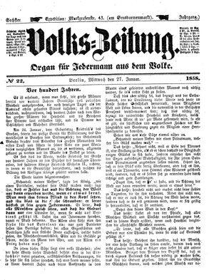 Volks-Zeitung vom 27.01.1858