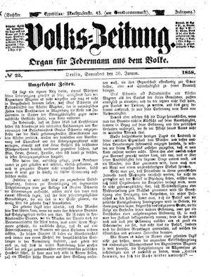 Volks-Zeitung vom 30.01.1858