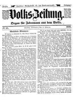 Volks-Zeitung vom 04.02.1858