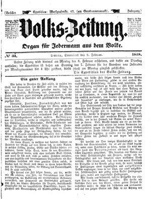 Volks-Zeitung vom 06.02.1858