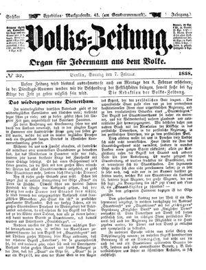 Volks-Zeitung vom 07.02.1858