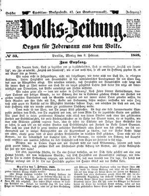 Volks-Zeitung vom 08.02.1858
