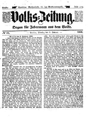 Volks-Zeitung vom 09.02.1858