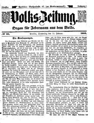 Volks-Zeitung vom 11.02.1858