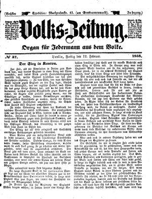 Volks-Zeitung vom 12.02.1858