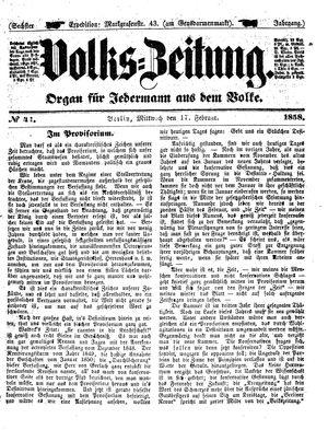 Volks-Zeitung vom 17.02.1858