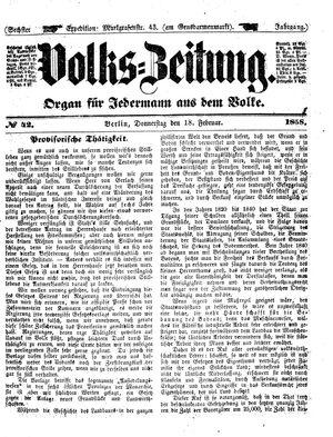 Volks-Zeitung vom 18.02.1858