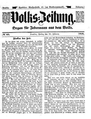 Volks-Zeitung vom 19.02.1858