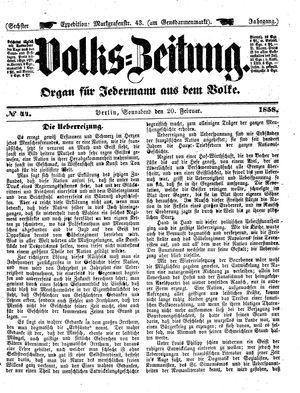 Volks-Zeitung vom 20.02.1858