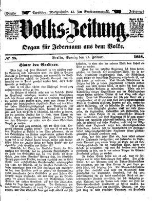Volks-Zeitung vom 21.02.1858