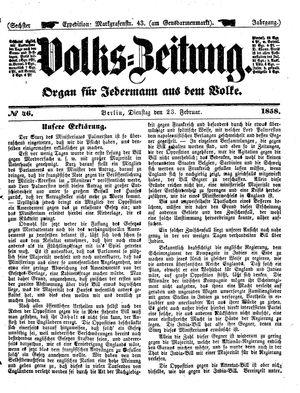 Volks-Zeitung vom 23.02.1858