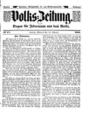Volks-Zeitung vom 24.02.1858