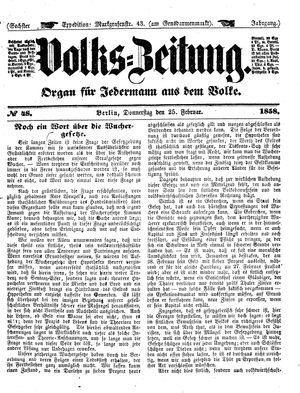 Volks-Zeitung vom 25.02.1858