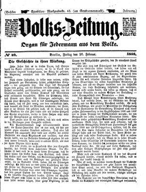 Volks-Zeitung on Feb 26, 1858
