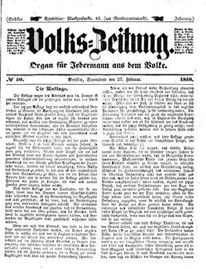 Volks-Zeitung vom 27.02.1858