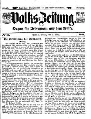 Volks-Zeitung vom 02.03.1858