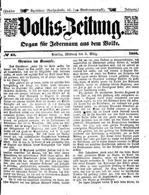 Volks-Zeitung vom 03.03.1858