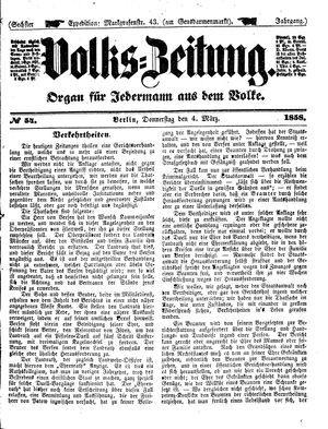 Volks-Zeitung vom 04.03.1858