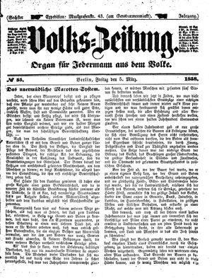 Volks-Zeitung vom 05.03.1858