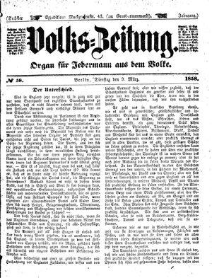 Volks-Zeitung vom 09.03.1858