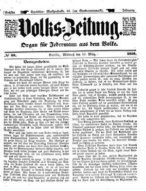 Volks-Zeitung vom 10.03.1858