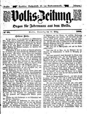 Volks-Zeitung vom 11.03.1858