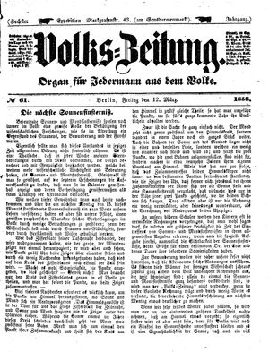 Volks-Zeitung vom 12.03.1858